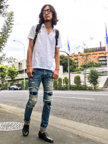 ポロシャツ×デニムスタイル