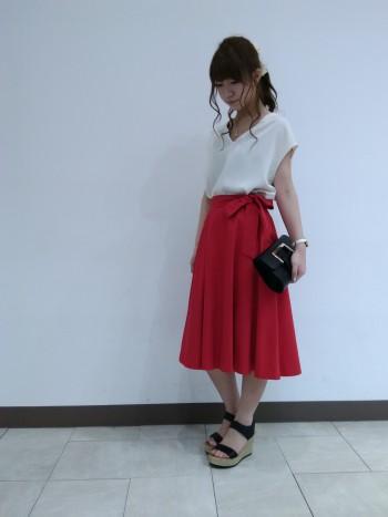 #リボン付きフレアスカート