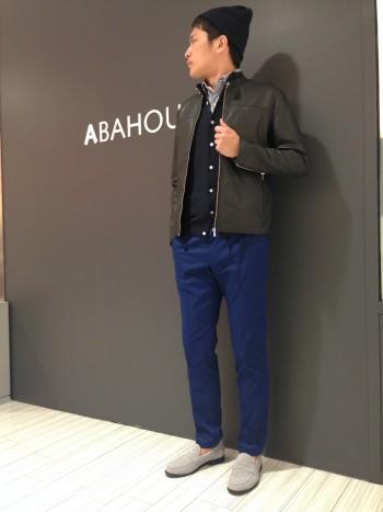 【ABAHOUSE】 ニットシャツとライダース