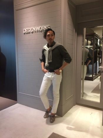 Olive Shirt+White Pants