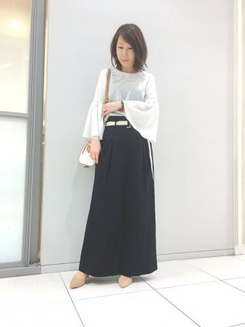 ベルト付きタックワイドパンツ☆