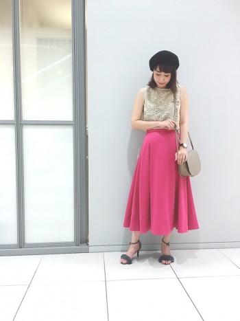 ノースリレースブラウス☆ダブルサテンスカート