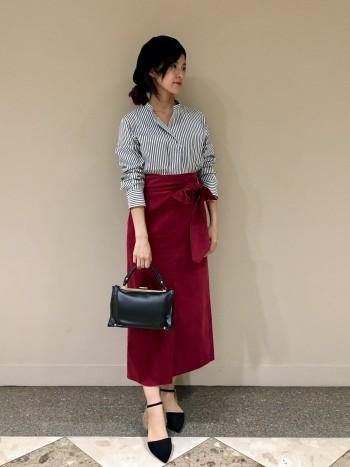 細コールベルト付きスカート