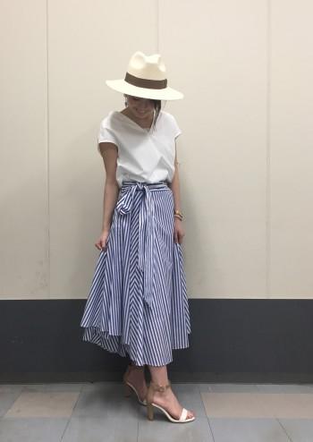 ウエストリボンストライプスカート♡