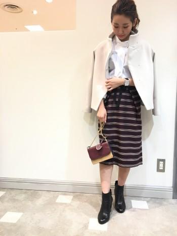 スタンドカラーショートコート☆スカート