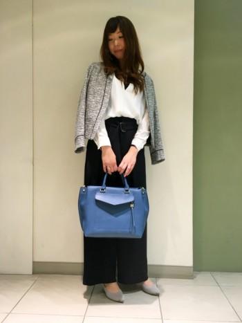 ツイードジャケット × ワイドパンツコーデ
