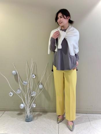 【池袋西武店】162cmヒップ寸大きめストレート体型ですがぴったりのサイズでした。丈はくるぶし丈です。
