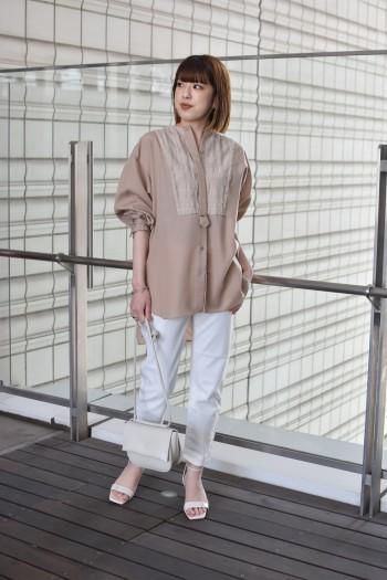 【有楽町マルイ】ブザムデザインで一枚でも決まります◎柔らかく滑らかな肌触りで着心地も良く、ハリ感のあるシャツが苦手な方におすすめです。