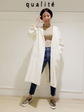 【京都髙島屋】肩幅の広い私もオーバーサイズなのでゆったり着れました!ざっくりニットと合わせても着やすいサイズ感です。