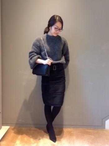 新作オリジナル アルパカ異素材コンビスカート