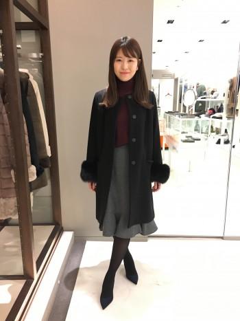 新作★袖フォックスカシミヤコート