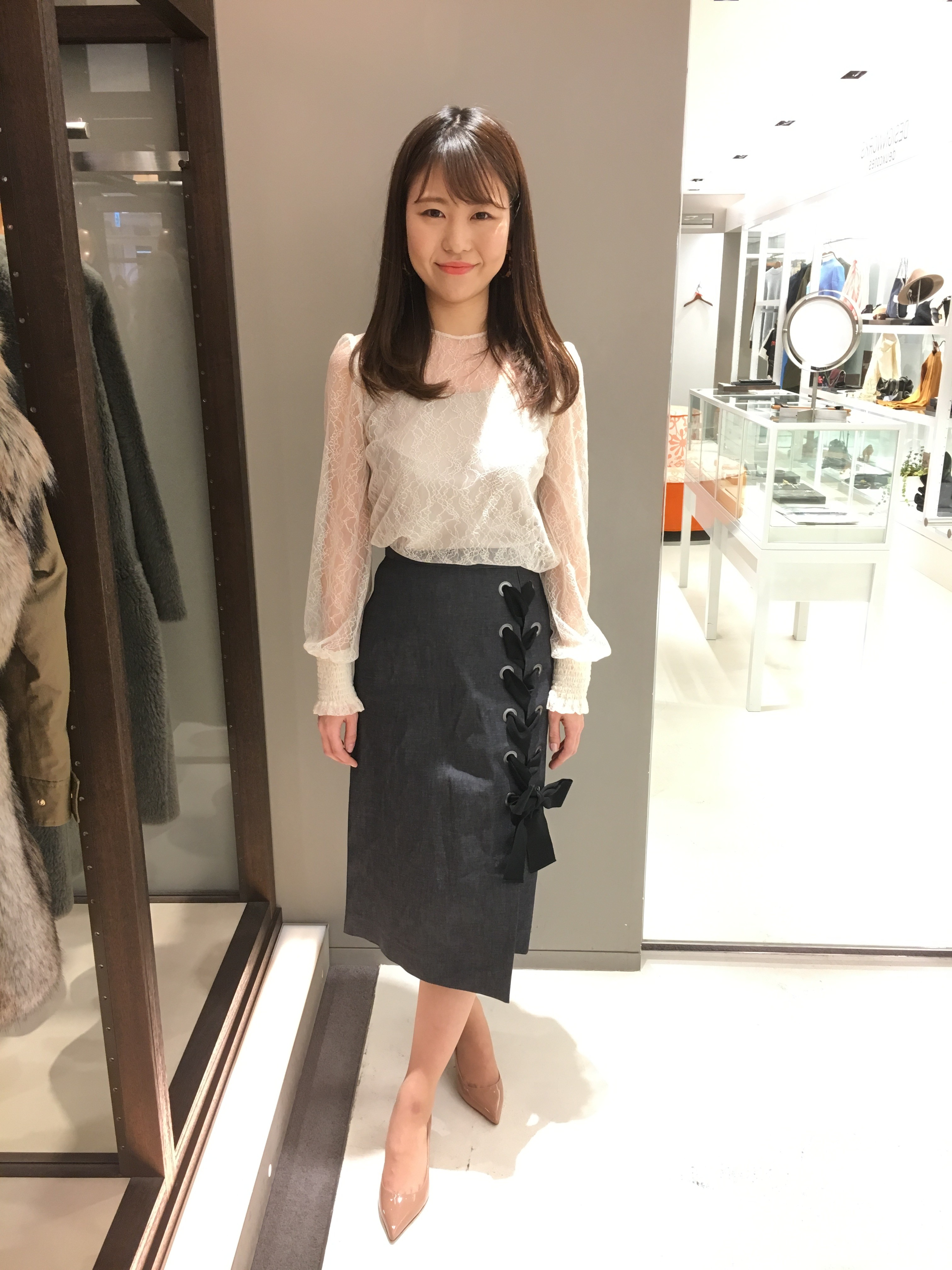 新作★レースアップデニムスカート