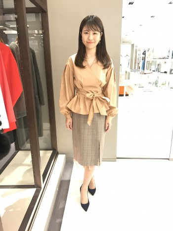 新作★グレンチェック裾レースタイトスカート
