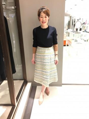 新作★ファンシーツィードラップスカート