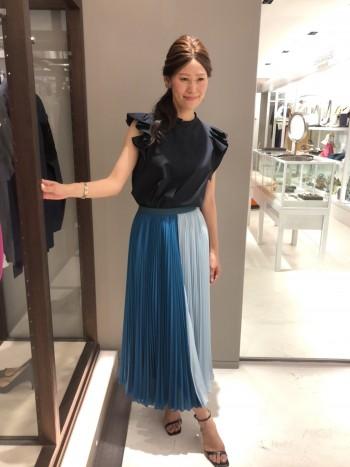 新作★配色プリーツスカート
