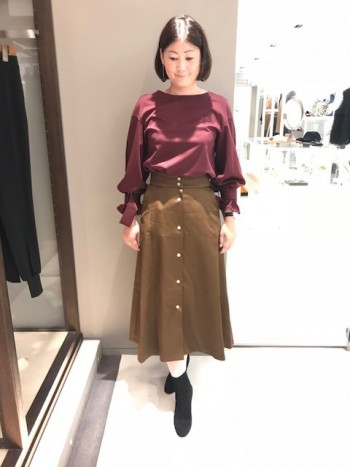 新作★コットンレーヨンサテンスカート