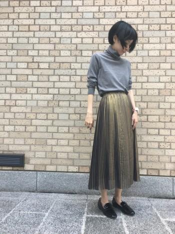 新作◆箔プリーツスカート