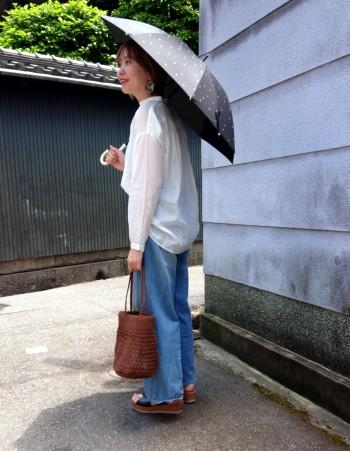 とても軽くて、雨傘より少し小振りなサイズが持ち歩きやすくお気に入りです。 遮光率99%以上で日焼け対策もばっちりです!