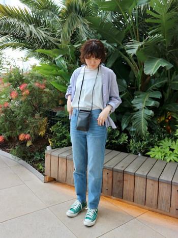 シンプルなTシャツで着回し抜群です! 腰丈なのでパンツ・スカートどちらにも合わせやすいです。 接触冷感で涼しく過ごせます。