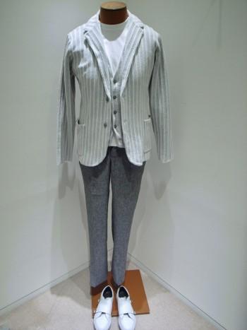 DESIGNWORKS       Cotton boucle double stripe jacket +  gilet          ー Grey ー