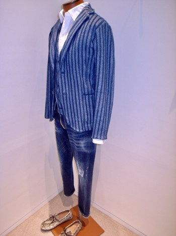 DESIGNWORKS       Cotton boucle double stripe jacket +  gilet          ー Navy ー