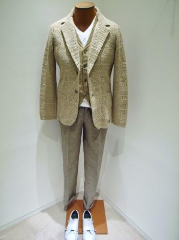 DESIGNWORKS       Thread pattern knit jacket  - Beige -