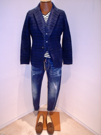 DESIGNWORKS       Thread pattern knit jacket  - Navy -