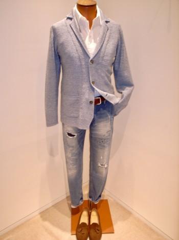 DESIGNWORKS    KANOKO linen stretch knit jacket  <Blue>