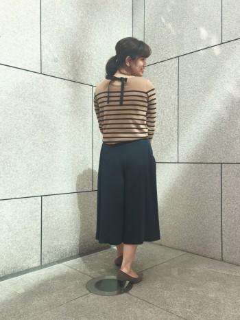 スカート見えする綺麗なシルエット◎身長のある私でも38サイズで膝がしっかり隠れる長さでした。