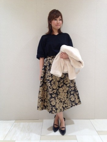 秋の新作★フラワージャガードスカート