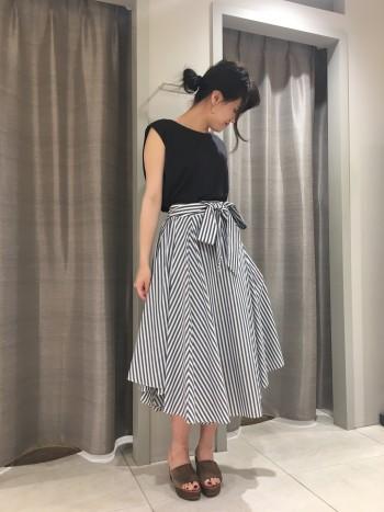 SugarRose ストライプリボンスカート