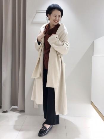 軽くて暖かいコートです!長さもしっかりあるので170cmの私が羽織ってもバランスが取りやすいです◎